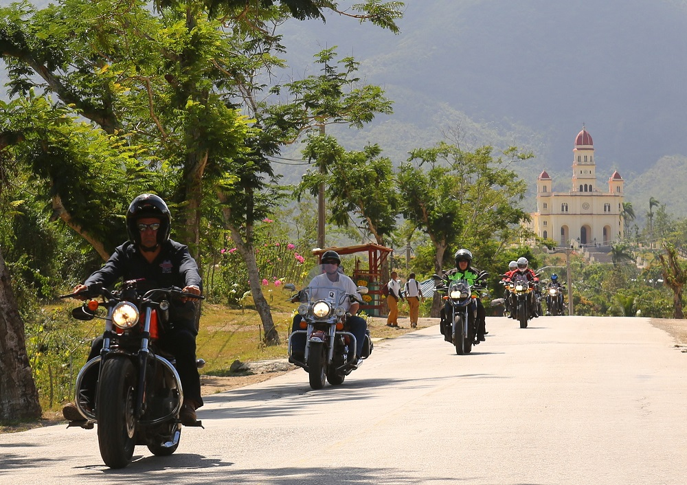 MotoDiscovery group members near Basilica del Cobre, Santiago de Cuba; copyright Christopher P Baker
