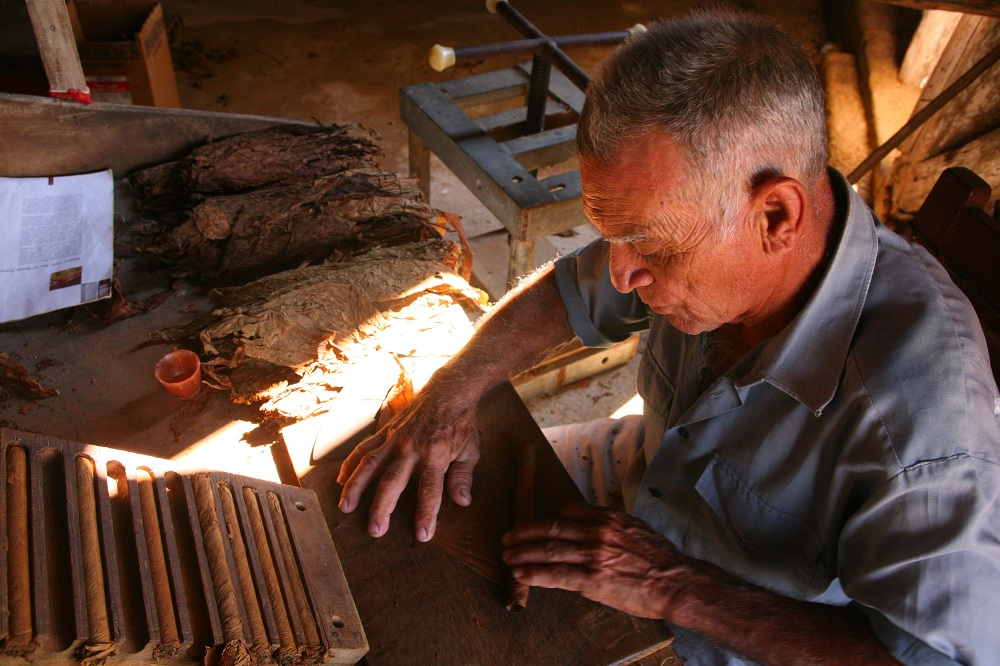CUBA_3091 Worker rolling a cigar at Finca Pinar San Luis, Pinar del Rio, Cuba; copyright Christopher P Baker