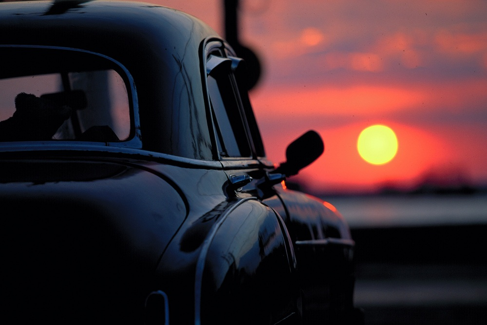Chevrolet at sunset, Cienfuegos, Cuba; copyright Christopher P Baker