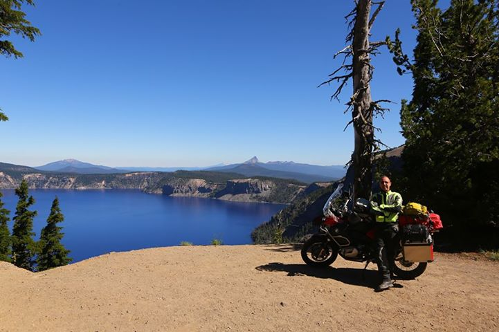 Christopher P Baker and his BMW 1200GSA at Crater Lake, Oregon, 2013; copyright Christopher P Baker
