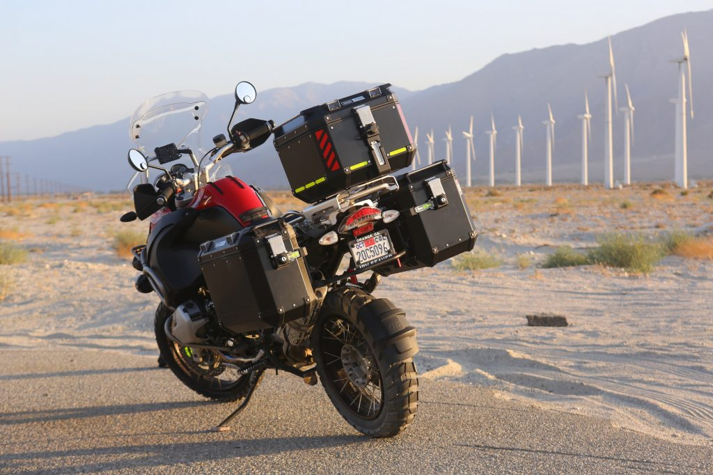 BMW R1200GSA fitted with Givi Trekker Outback Palm Springs desert California Christopher Baker